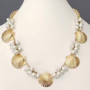 Gold shell and faux pearl necklace